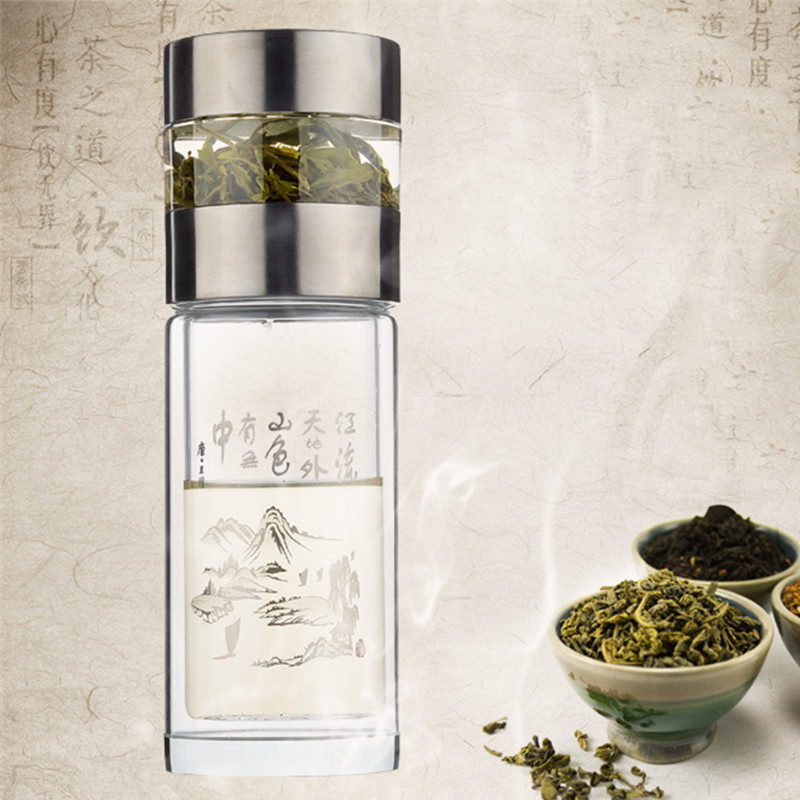 14b19d547e Double glass tea master water bottle 260ml Clear Reusable Bottles luxury  crystal Scald Proof Glass Bottle (Simple package)