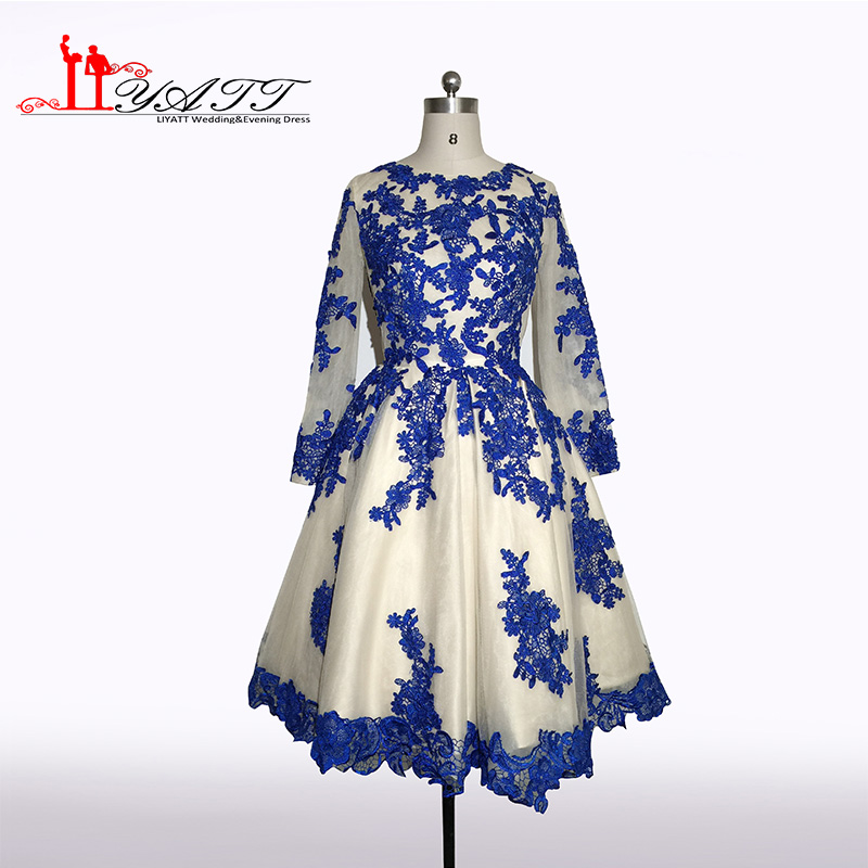 Robe de soiree 2016 New Collection Evening Prom Dress Long Sleeves Royal Blue Puffy Ball Gown Lace Appliques Liyatt