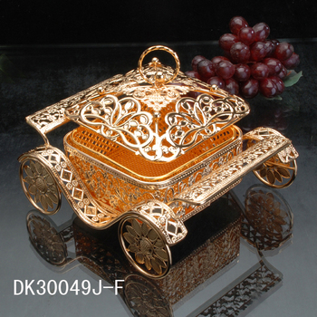 Golden Fruit Plate European Metal Pastoral Fruit home decoration accessories   Basket Hollow-out Carved Dim sum Candy Plate