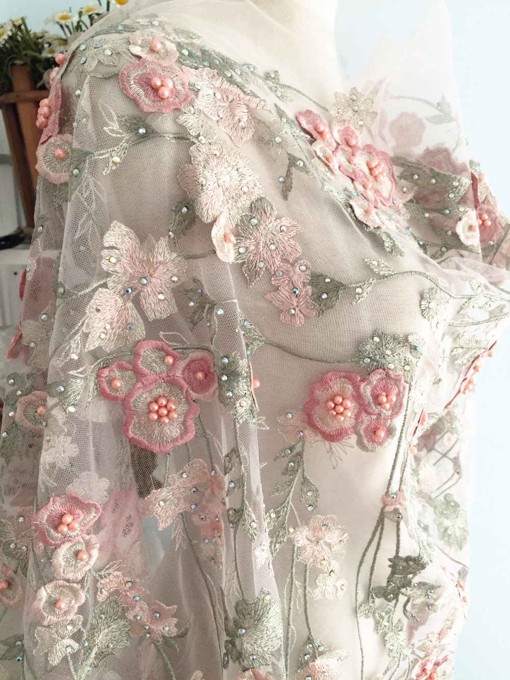 1 Yard Lux Pink Appliqued 3D Beaded Sequined Lace Fabric with Fine Embroidery Off White Tulle