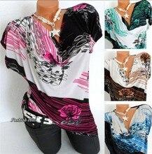 Large size womens T-shirt 2019 new print shirt collar bat sleeve plus