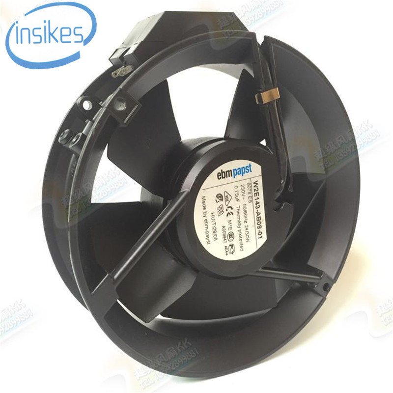 W2E143-AB09-01 Ball Bearing Axial Cooling Fan AC 230V 24W/30W 3300RPM 17251 17cm 172*172*51mm 2 Wires