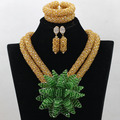 Popular Champagne Gold African Bridal Costume Jewelry Set Teal Green Brooch Pendant Chunky Necklace Set Gift Free Shipping QW436