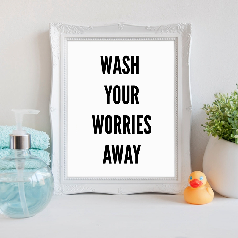 bathroom wall art decor canvas art print wash your worries away canvas painting poster home