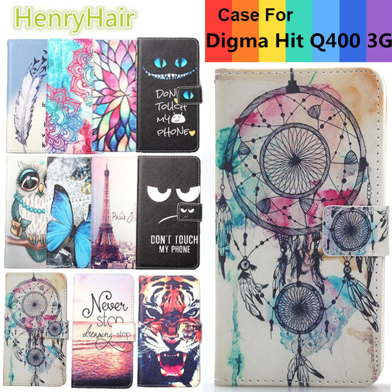 Top Selling 11 Colors Cartoon Painting PU Leather Magnetic clasp Wallet Cover For Digma Hit Q400 3G Case