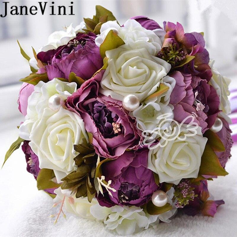 JaneVini Vintage demoiselle d'honneur cristal fleurs Bouquets avec pivoine artificielle violet ruban mariée Rose mariée perle mariage Bouquet