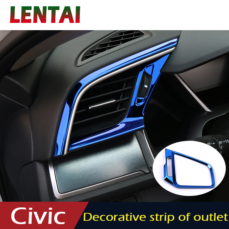 LENTAI Car Styling Stickers For Honda Civic 2018 2019 2016 2017 10 Accessories Center Console Air