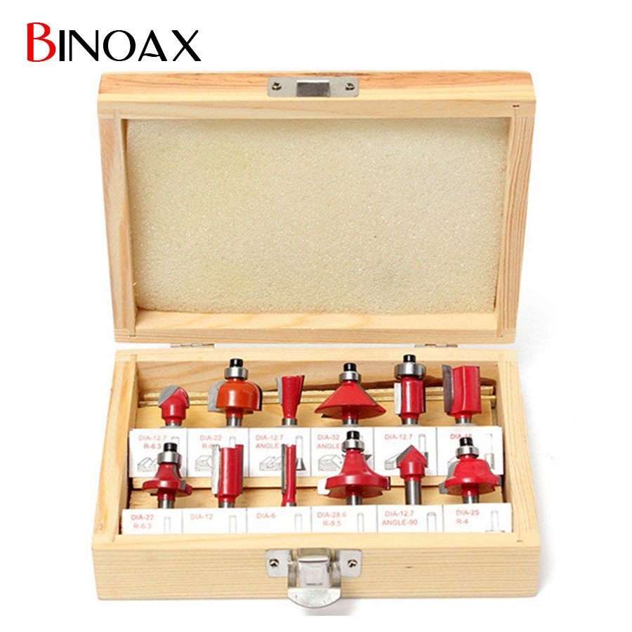 Binoax 12Pcs 1/2 inch Shank Tungsten Carbide Router Bits Rotary Power Tool Accessories+Wood box free shipping pro grade 2 piece tungsten carbide 1 2 inch router bits set