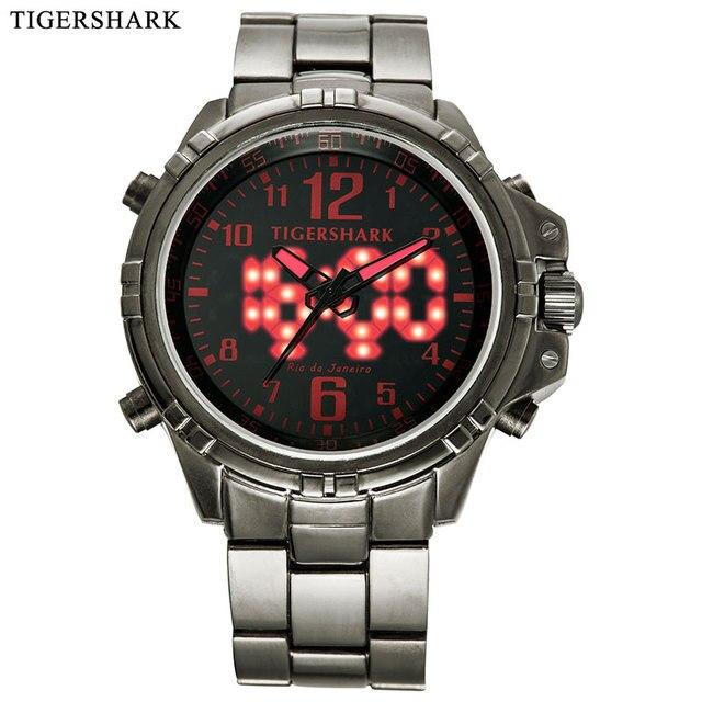 2017 TIGERSHARK Мужчины Моды случайные спортивные Часы мужчины Цифровой СВЕТОДИОДНЫЙ Кварцевые Наручные Часы пистолет черная полоса красный маркер руки