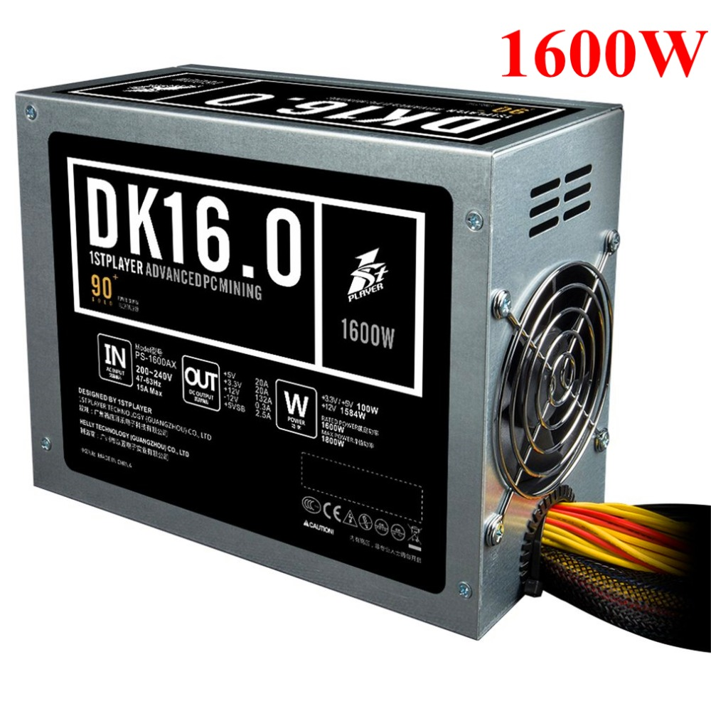 PS-1600AX Low Noise Mining PSU 1600W High Power Basic PC Mining Power Supply with 2pcs 8cm Cooling Fan for Miner Machine 2pcs lot gdstime 90mm 92x25mm white led desktop case fan pc cooling low noise