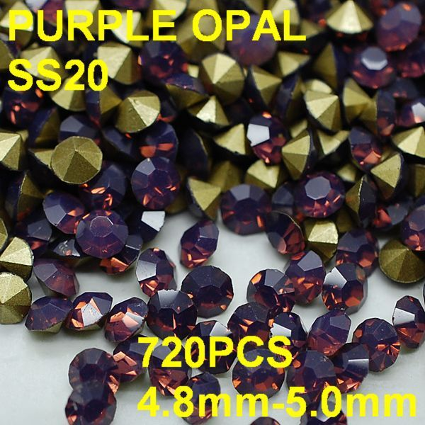 SS20 720 unids/lote LiPurple de 4.8mm-5.0mm Color Cristal Opal Rhinestone Point Volver Nail Joyería de Oro para el Vestido