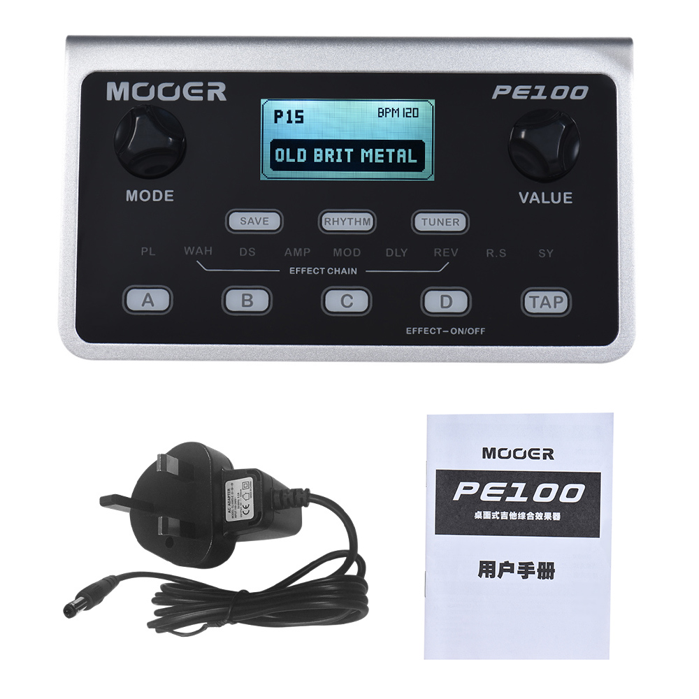 US $60 0 |MOOER PE100 Portable Multi effects Processor Guitar Effect Pedal  39 Effects 40 Drum Patterns 10 Metronomes Tap Tempo-in Guitar Parts &