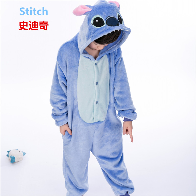 girl boy childrens pajamas baby onesie kids pajama set animal cartoon sleepwear stitch panda pink unicorn hooded cosplay