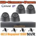 Full HD 1920 x 1080 sistema de CCTV H.264 ONVIF HDMI 4CH NVR Recorder + 2.0MP P2P IP noite câmera de visão Indoor CCTV sistema de câmera