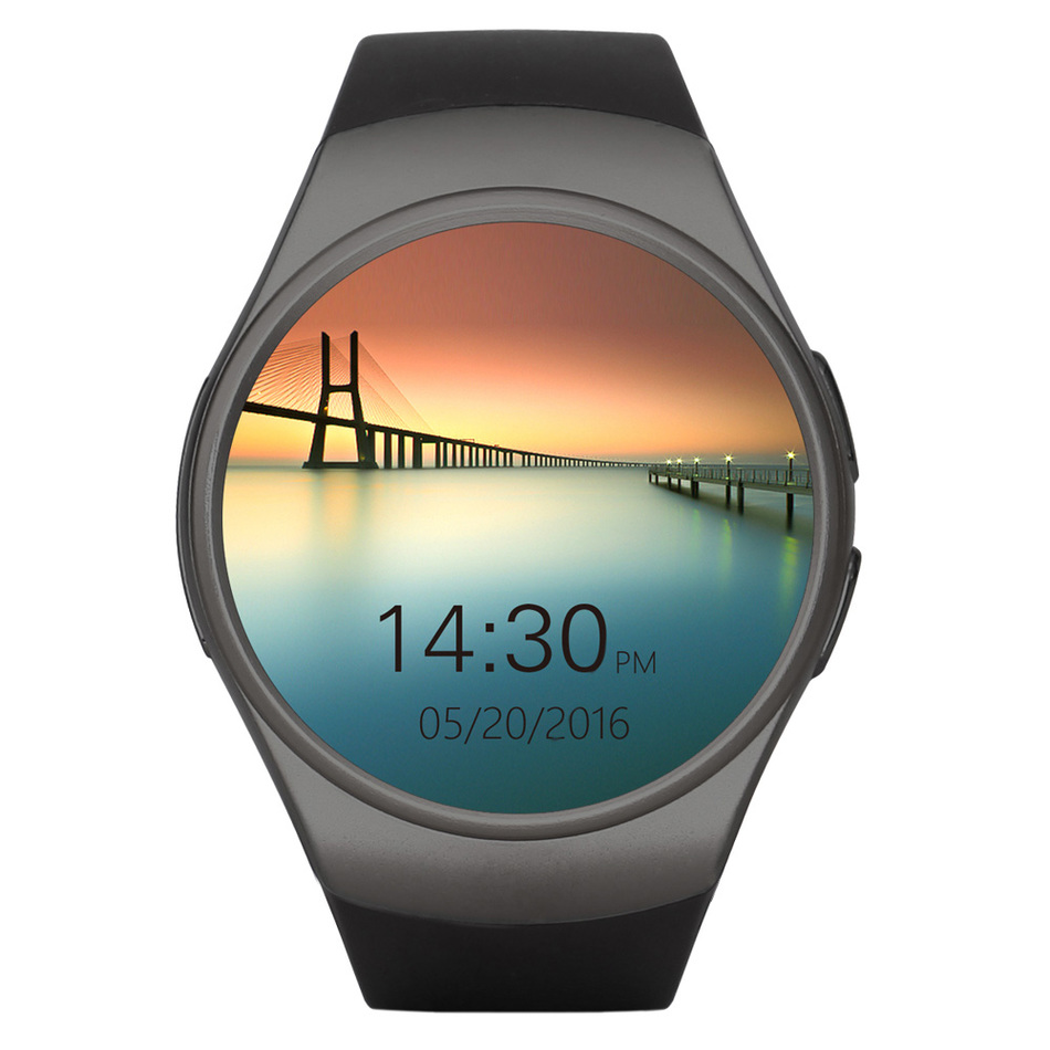 ФОТО New Arrival KW18 Smart Watch MTK2502C 1.3 Inch Round Screen Bluetooth 4.0 GSM Smart Watch Wristband For iOS For Android