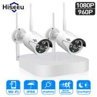 Hiseeu 1080 P 960 беспроводной CCTV системы IP пуля камера HD 2MP сетевой видеорегистратор видеокамера охранной системы скрытого видеонаблюдения