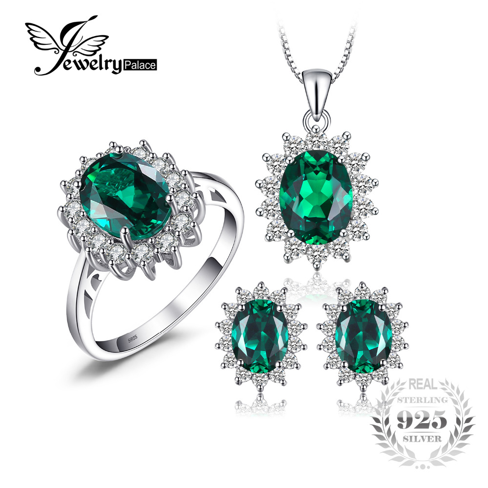 JewelryPalace Princess Diana Jewelry Engagement Wedding Created Emerald Jewelry 925 Sterling Silver Ring Pendant Earring jewelrypalace princess diana jewelry engagement wedding created emerald jewelry 925 sterling silver ring pendant earring