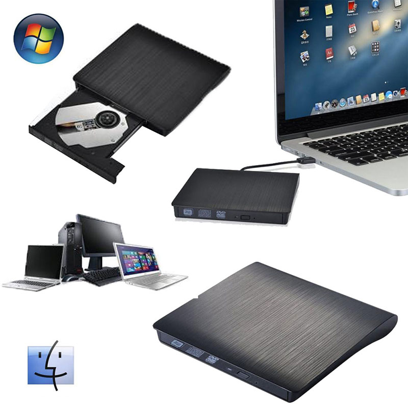 USB 3.0 DVD-RW DVD-ROM CD-RW Read Writer Burner External Drive for PC Laptop цена