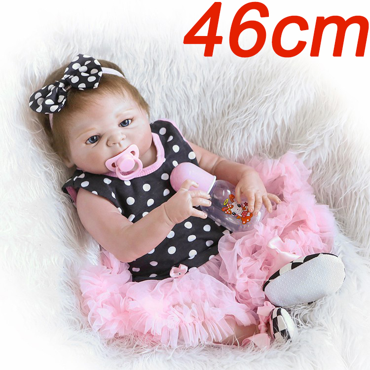 19inch 46CM Full Silicone vinyl Reborn Baby lol Dolls Brand kids toys Gift Brinquedos bonecas fashion design bathe toddlers toy image
