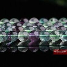 Натуральный цветной флюорит, Круглый свободный камень, ювелирный бисер, 16 дюймов, выберите размер 4, 6, 8, 10, 12 мм CFB01