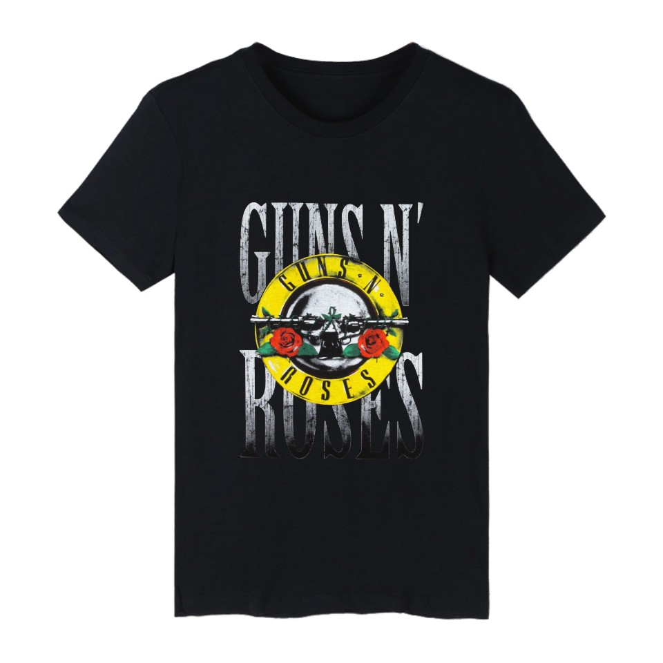 GUN N ROSES Brand Short Sleeve Clothes Hiphop Style Size 4XL Casual White T Shirt Men Summer Shirt Good Quality