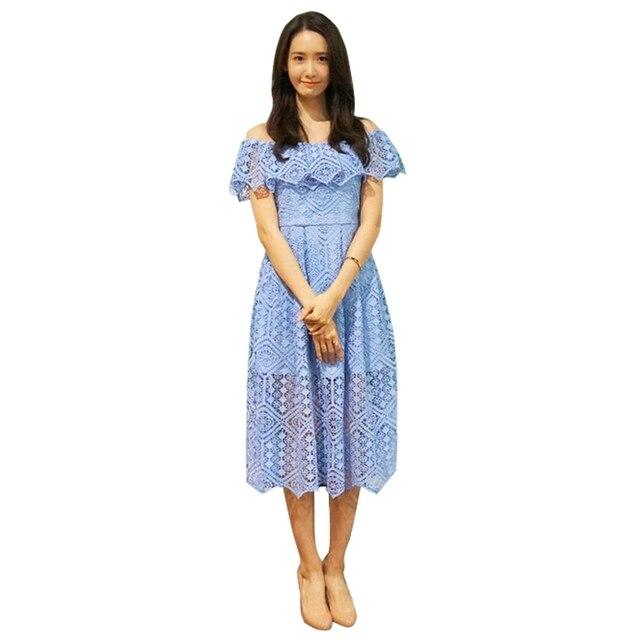 Ropa mujer verano moda mujeres 2017 azul encaje vestido de ganchillo ...