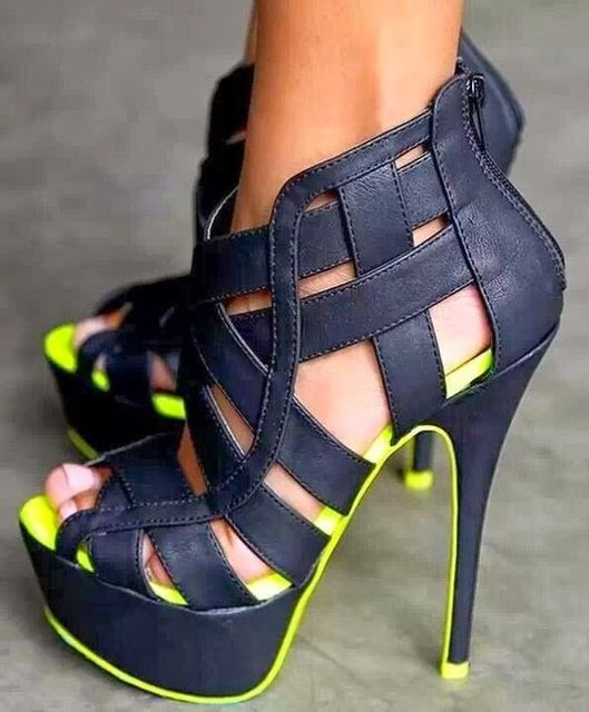 4bc60bf5500 Punk Rock Gladiator High Heel Sandals Platform Peep Toe Cut Out Buckle Strap  2018 Summer Ankle Boots Sandals Shoe