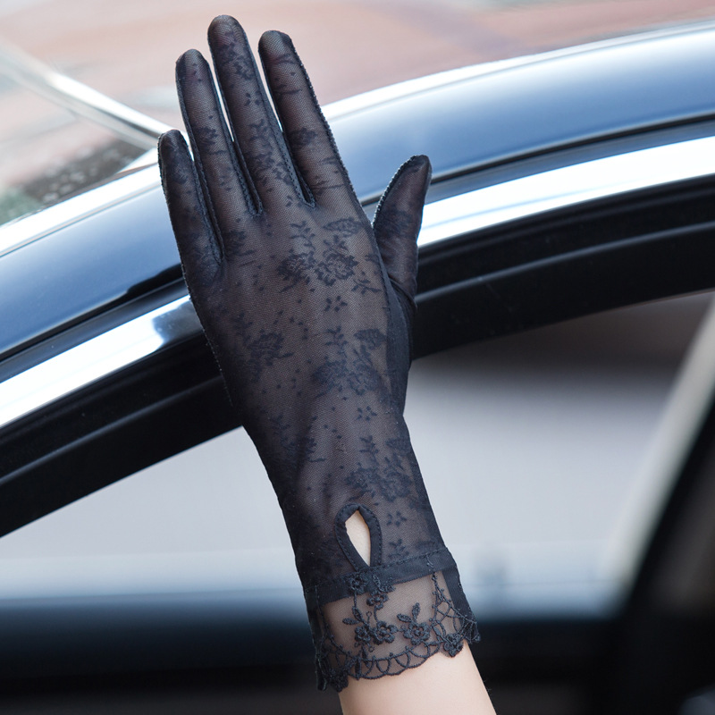 Sexy Spring Summer Female UV Sunscreen Short Sun Touch Screen Gloves Fashion Women Thin Ice Silk Lace Pearl Driving Gloves 06AB