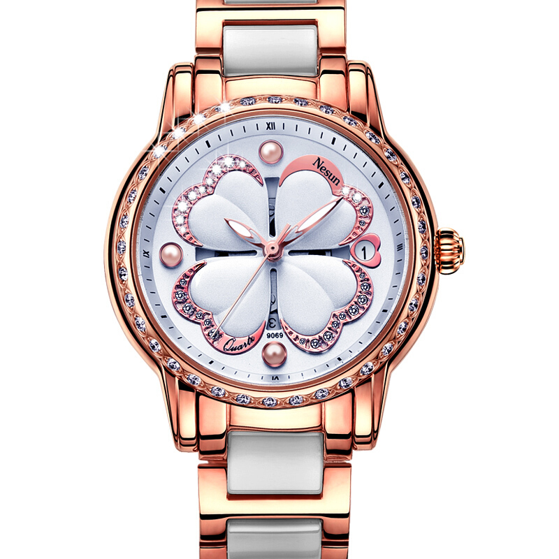 NESUN Fashion Four Leaf Clover With Diamond Case Leather&Stainless Steel Watch Band For Women Watches цена