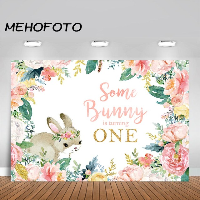 MEHOFOTO Baby 1st Birthday Party Backdrop Some Bunny is Turning One Photo Background Easter Birthday Theme Photography Backdrops
