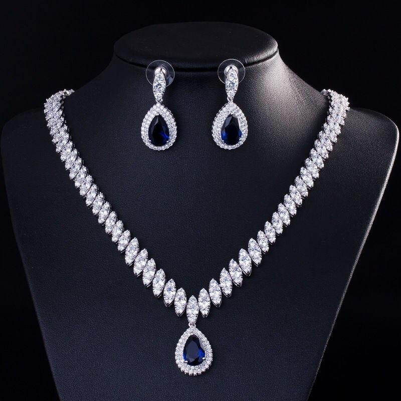 Mariée Zircon gouttes hypoallergénique oreille Clip collier ensemble de mariage nuptiale fête bijoux ensemble habiller collier boucle d'oreille ensemble