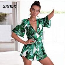 JSMY 2019 New Summer Fashion Women V-neck Ruffle Sleeve Leaf Print Temperament Chiffon Dress