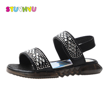 Girls summer rhinestone sandals for children shoes 2019 fashion open toe kids beach shoes flat casual sandals girls shoes 2017 summer girls sandals boys sandals kids casual flat shoes for children footwear candy colors