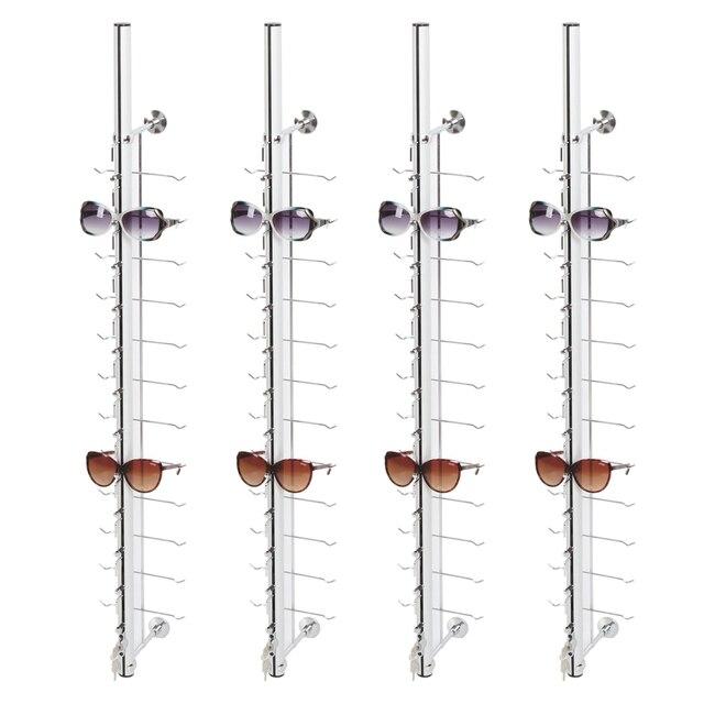 Soporte de exhibición de gafas montado en la pared de Metal LOC A 12PC 110CM con cerradura
