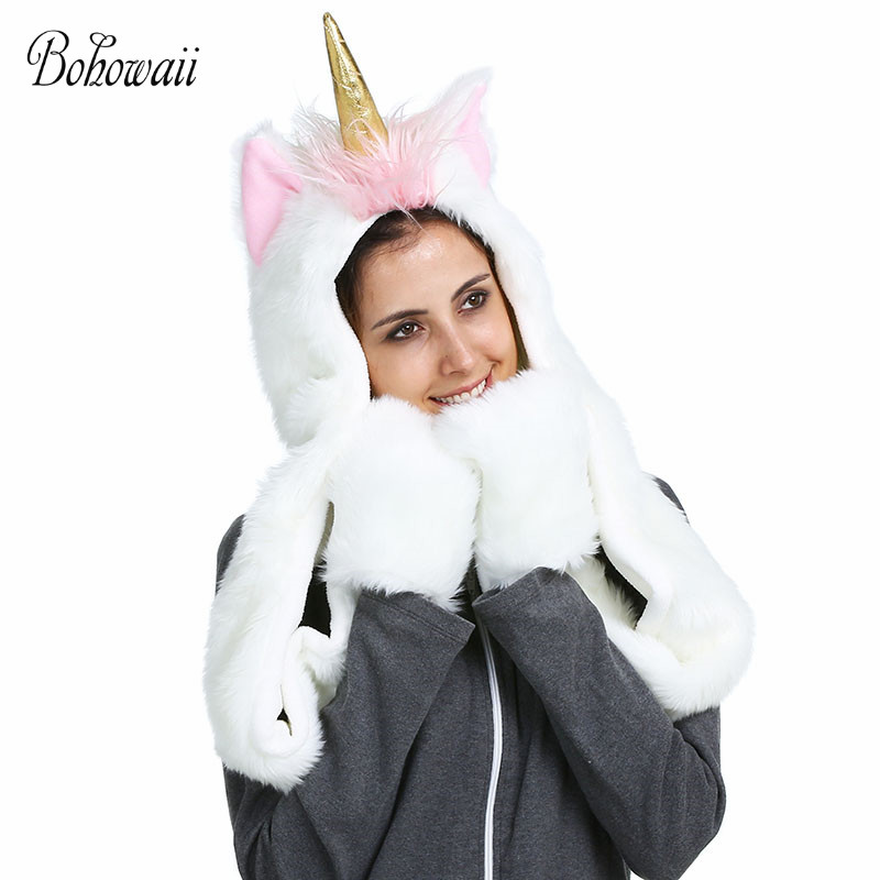 BOHOWAII Christmas Animal Hoodies Warm Fluffy And Soft Women Winter Hats And Scarf 3 In 1 Adult Unicorn Hat Scarf