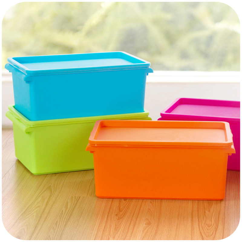 Colorful Stackable Storage Box With Lid Debris Moisture