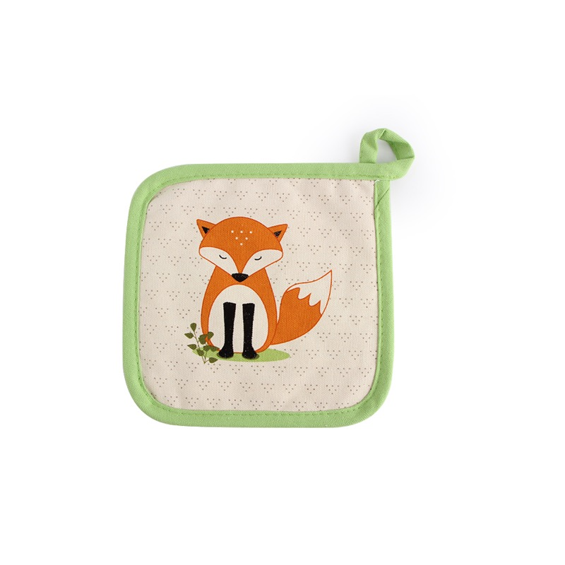 1 stk Red Fox Children Dining Pot Holder, Ovemiddler 100% Bomuld, Bordplade, Varmebestandig Om010