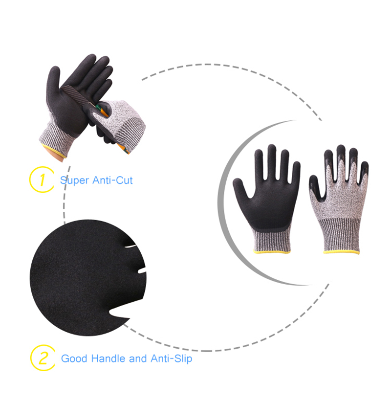 Image 3 - Construction Gloves GMG Grey Anti cut HPPE Shell Black Latex Sandy Coating Safety Work Gloves Cut Resistance Work Glove-in Safety Gloves from Security & Protection