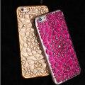 Novo luxo flor brilhando diamante de bling strass capa para iphone 6 6 s plus floral chapeamento de silicone escudo protetor
