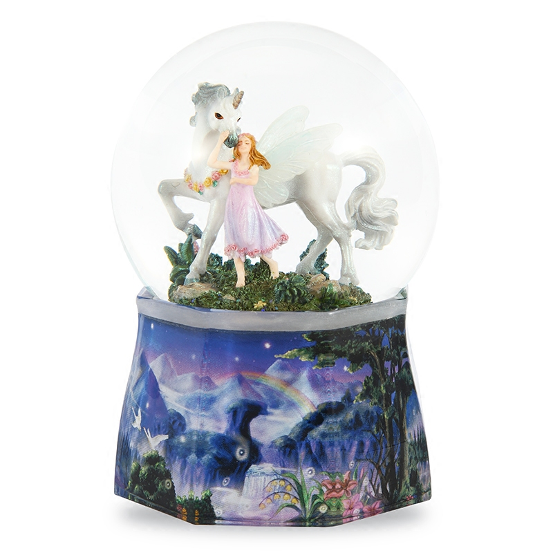 Free shipping JARLL beautiful faery unicorn crystal ball music box rotating music box Christmas birthday present for a girl