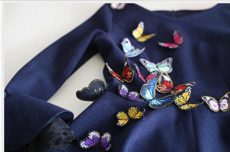 2019 primavera nuevo vestido de estilo literatura baile largo volando mariposa hecha a mano ajustado retro vestido de lana wj343 envío gratis - 4