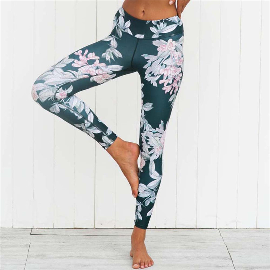 Crazy Fan Floral Print Fitness Leggings Slimming Mid Rise Cut Women's Sporting Leggings Comfy Dark Blue Long Pants blue galaxy print leggings