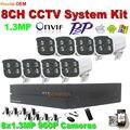 De alta calidad! 1.3MP Cámara IP 8CH nvr 1080 P grabador de vídeo 8 UNIDS al aire libre ir noche motion detectar p2p de onvif full hd cctv cámara