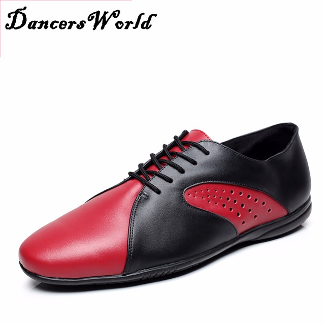 1efb38293 Cheap Male Latin Dance Shoes Low Heels 2.5 cm Black Red High Quality Genuine  Leather Sneaker