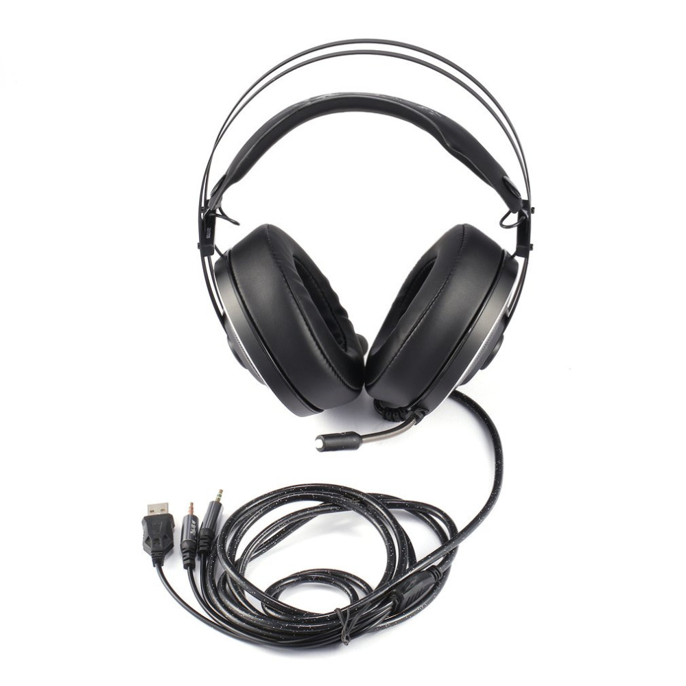 Voice Control Game Headset Deep Bass Gaming Headphones with Microphone Over-Ear Headband Earphone with Light for Computer PC 3 5mm universal gaming over ear headset earphones computer game headphones with microphone for gamer stereo bass for computer pc