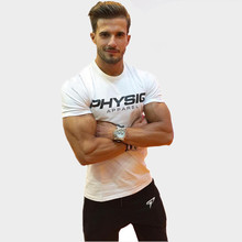 Mens summer fitness Bodybuilding cotton t shirt gyms workout Short sleeve shirts male Fashion leisure tees