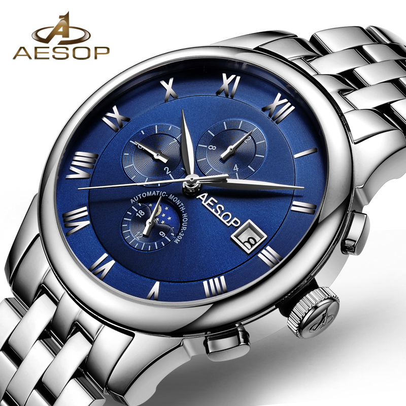 AESOP New Brand Fashion Watch Men Blue Automatic Mechanical Wrist Wristwatch Male Clock Relogio Masculino Hodinky 2018 Box 46 fashion top brand watch men automatic mechanical wristwatch stainless steel waterproof luminous male clock relogio masculino 46