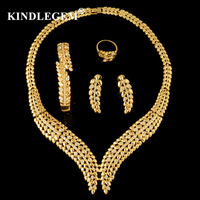 Kindlegem Brand CC Style Ivy Leaves Jewelry Sets Luxury Dubai Gold 585 For Women Gorgeous Zircon Necklace Bracelet Earring Ring