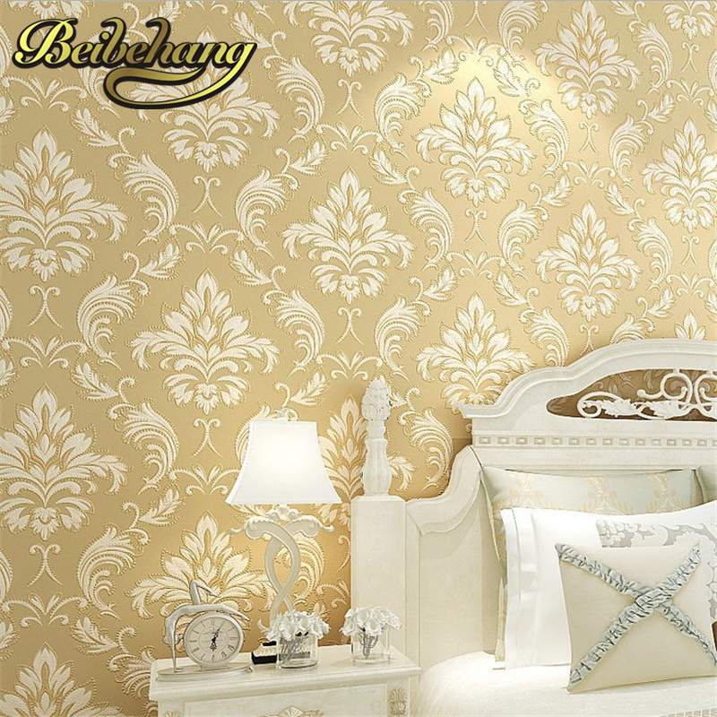 beibehang home decor Vintage European French Flocking Non Woven Classic Wallpaper Wall paper Roll papel de parede para quarto beibehang wallpaper non woven home