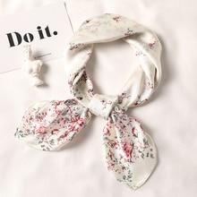 2019 Fashion Square Scarf Women Multicolor Silk Soft Floral Print Kerchief Neck Wrap Office Scarfs Lady